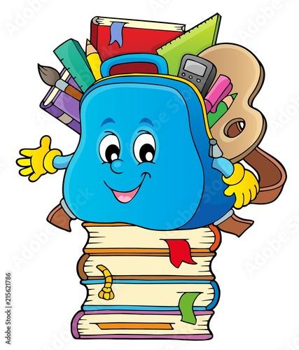 Foto op Plexiglas Voor kinderen Happy schoolbag topic image 3