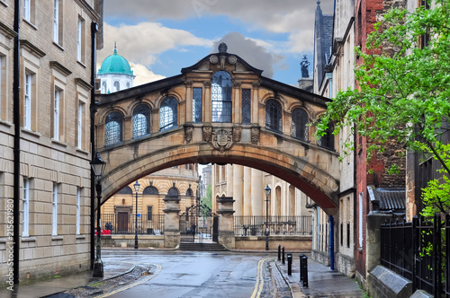 Poster Con. Antique Bridge of Sighs (Hertford bridge), Oxford, UK
