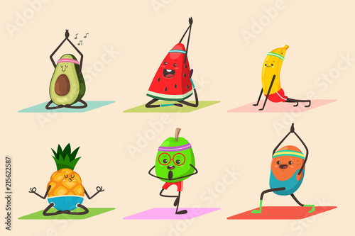Poster Cuisine Cute fruit and vegetables doing yoga poses exercises. Funny vector cartoon food character set isolated on background. Eating healthy and fitness