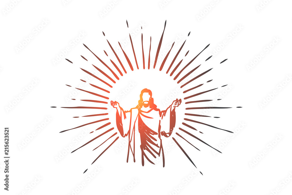 Fototapety, obrazy: God, Jesus christ, grace, good, ascension concept. Hand drawn isolated vector.