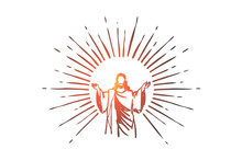 God, Jesus Christ, Grace, Good, Ascension Concept. Hand Drawn Isolated Vector.