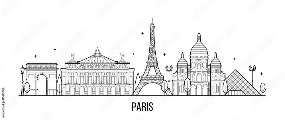 Fototapeta Paris skyline France city buildings vector
