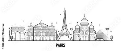 Paris skyline France city buildings vector
