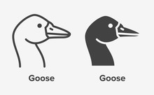 Goose Head Flat Line, Glyph Ic...