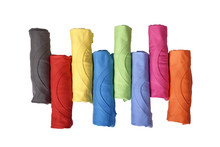 Row Of Colorful Rolled Clothes