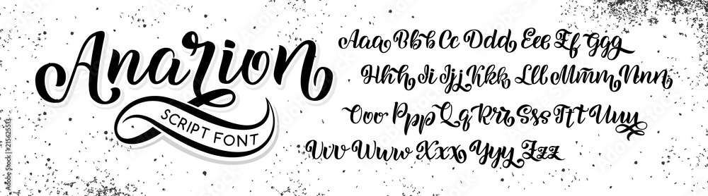 Fototapeta Hand drawn typeface. Brush painted letters. Handwritten script alphabet isolated on white background. Handmade alphabet for your designs logo, posters, invitations, cards, etc.
