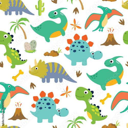fototapeta na ścianę Cute dino seamless pattern