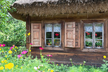 Old Wooden House With Widnow S...