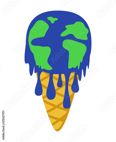 Global Warming Concept Ice Cream Earth Melting Save The World