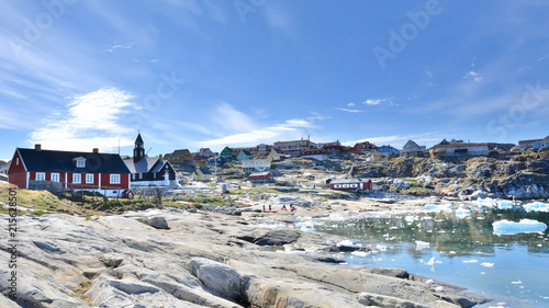 Photo Stands Pole Greenland. Town of Ilulissat