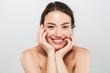 Leinwandbild Motiv Beauty portrait of a smiling young topless woman
