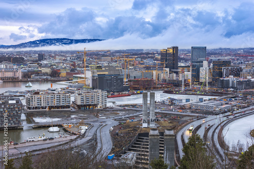 Oslo aerial view city skyline at business district and Barcode Project, Oslo Norway