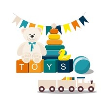 Clorful Kids Toys. Teddy Bear, Wooden Toy Train, Pyramid And Other