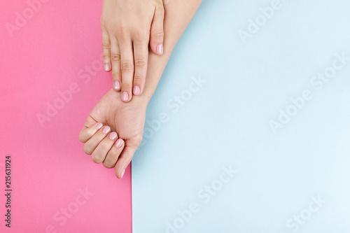 Aluminium Prints Manicure female hands with pink manicure