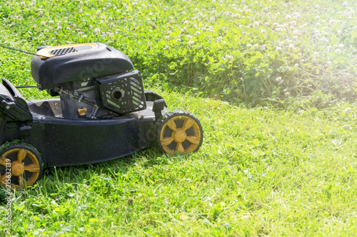 Papiers peints Retro Summer and spring season sunny lawn mowing in the garden.