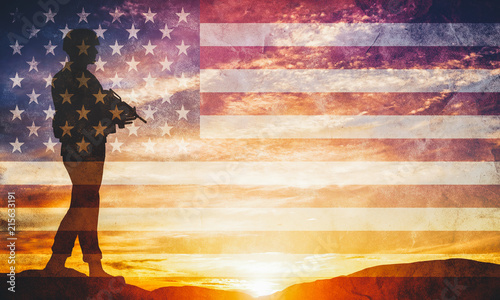 Fototapeta Armed soldier with rifle and USA flag