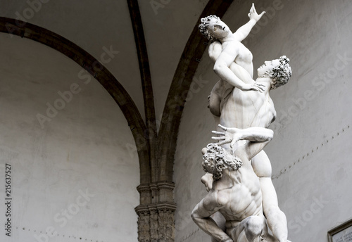 statue depicting the abduction of the Sabines, Florence Canvas Print