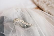 Bridal Hair Accessoiry On A Wedding Veil