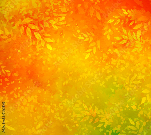 Obraz Autumn background with leaves and branches - fototapety do salonu