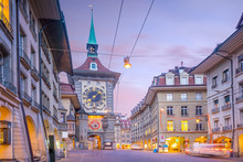 Zytglogge Clock Tower On Kramgasse Street With Shopping Area In Old City Center Of Bern