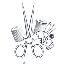 Scissors And Tools For Sewing