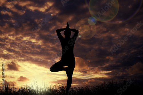 Leinwand Poster  Yoga bei Sonnenuntergang