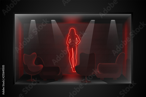 Photo Neon image of dancing striptease in a dark room with furniture
