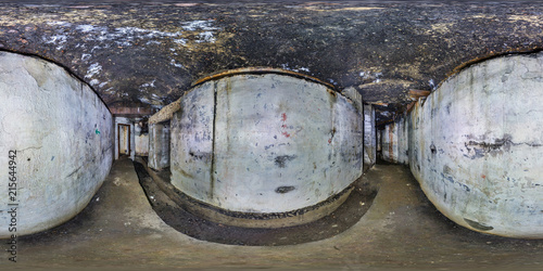 La pose en embrasure Fortification full seamless panorama 360 degrees angle view inside ruined abandoned military underground casemates fortress of the First World War in equirectangular spherical projection