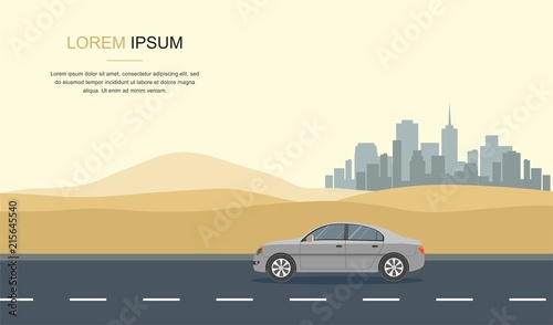 Poster Old cars Gray Car Drive in the Desert Vector Illustration