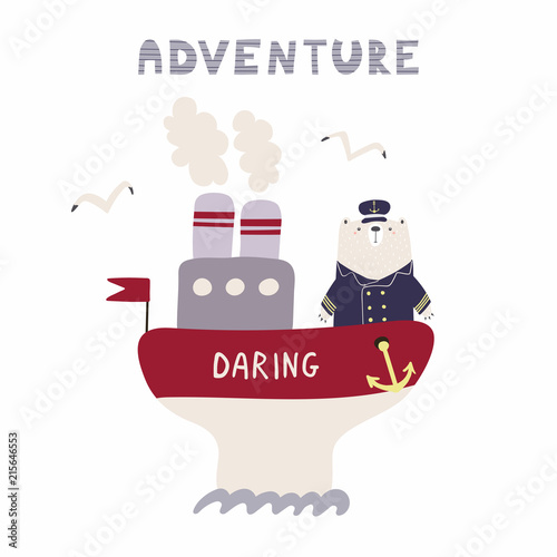 Printed kitchen splashbacks Illustrations Hand drawn vector illustration of a cute funny bear sailing on a ship, with text Adventure. Isolated objects on white background. Scandinavian style flat design. Concept for kids, nursery print.