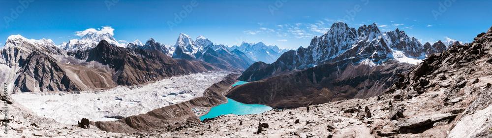 Fototapety, obrazy: Panoramic view of Himalayan Mountains from Gokyo Ri (5,360m) with Gokyo Lake, Everest, Nuptse, Lhotse, Phari Lapcha and More, Gokyo, Sagarmatha national park, Everest Base Camp 3 Passes Trek, Nepal