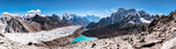 Fototapeta Góry - Panoramic view of Himalayan Mountains from Gokyo Ri (5,360m) with Gokyo Lake, Everest, Nuptse, Lhotse, Phari Lapcha and More, Gokyo, Sagarmatha national park, Everest Base Camp 3 Passes Trek, Nepal