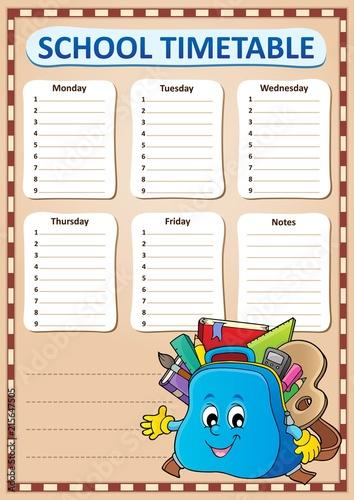 Foto op Plexiglas Voor kinderen Weekly school timetable template 4