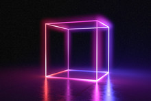 Abstract Neon Cube Brightly Sh...