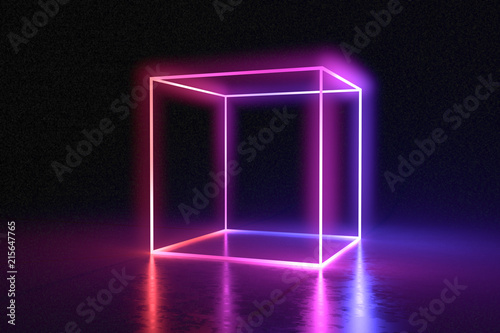 Stampa su Tela Abstract neon cube brightly shining in dark room