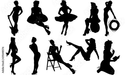 Pinup Girls Silhouette | Sexy Model Vector | Retro attractive Woman| Clipart Cli Canvas Print