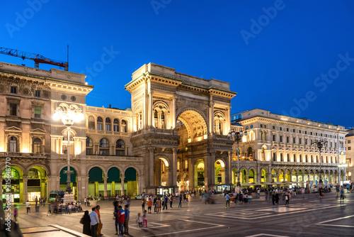 Fotografie, Obraz  People walking near Vittorio Emanuele II gallery at Duomo square, Milan, Italy