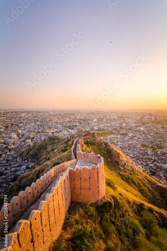 Fortification Sunset view of Nahargarh Fort on the edge of Aravalli Hills, Jaipur, Rajasthan, India