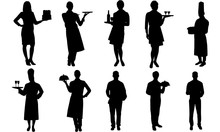 Waiters And Waitress Silhouette |Restaurant Service Vector| Meal Servers | Clipart Clip Art Logo