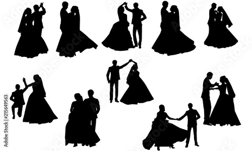 Wedding Dance Silhouette | Couple Dance Vector | Bride and ...