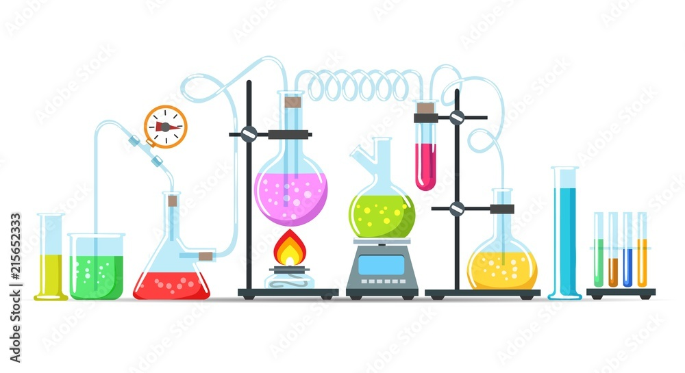 Fototapeta Chemistry lab equipment. Flasks, beakers and burner science instruments on white, vector chemical or biological research processing