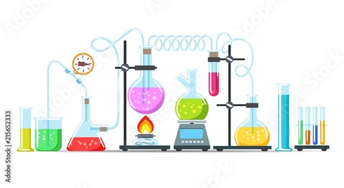 Obraz Chemistry lab equipment. Flasks, beakers and burner science instruments on white, vector chemical or biological research processing - fototapety do salonu