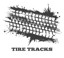 Mud Tire Tracking. Vector Grun...