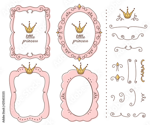 Princess Vector Element Of Design Pink Frames With Crown Tiara Sketch Hand Drawn Child S Picture Invitation Birthday Template Baby Shower Card