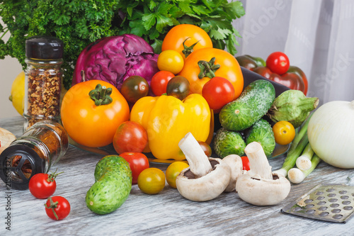 Colored vegetables and different greenery © lisssbetha
