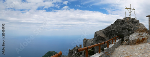 Photo view of the sea from Mount Athos, Greece