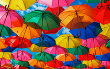 Lots Of Colorful Umbrellas In ...