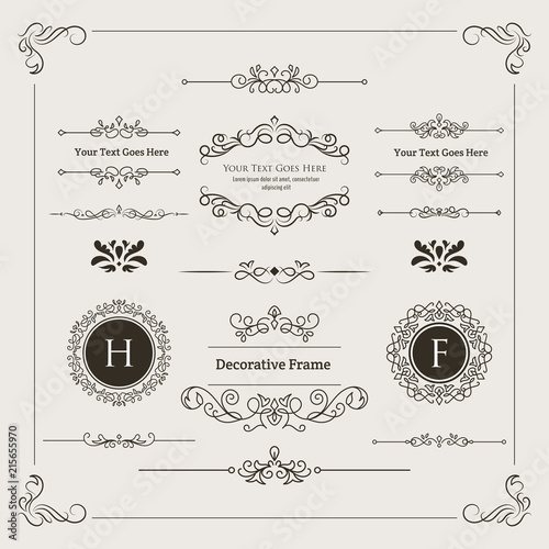 Fotografie, Obraz  Set of Decorative Divider, Monogram, & Frame Element