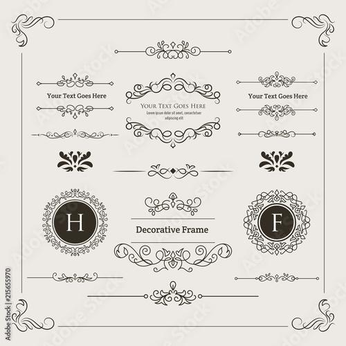 Fotografie, Obraz  Set of Decorative Divider, Monogram, & Frame Element