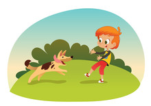 Cute Smiling Little Boy Playing With The Dog At The Neighborhood. Boy And His Friend Dog Running Through The Garden. Outdoors Activities. Best Friend Concept. Vector Illustration.